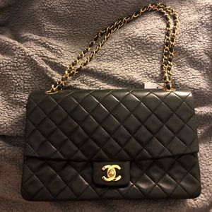 Chanel Vintage Flap Bag Quilted Lambskin Large